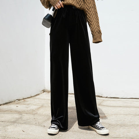 Trousers Casual Elastic High Waist Velvet Fashion Pleuche Wide Leg Pants