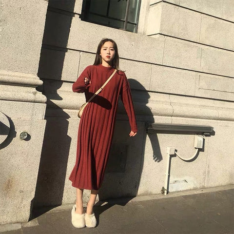 long sleeve sweater plus size clothes knit casual dress