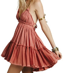 Bohemian Mini Backless Beach Dress Holiday
