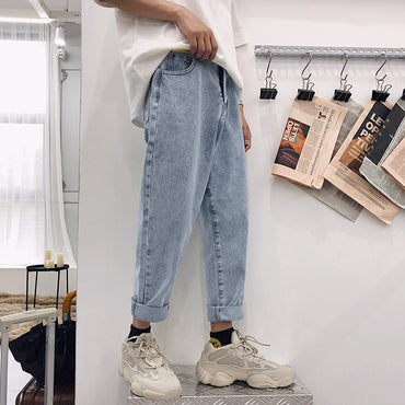 Jeans Washed Cotton Casual Light Blue Cowboy Pants