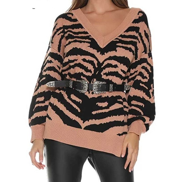 Stripe Sweater V Neck Knitted Loose Jumper Female Black Bohemian Boho