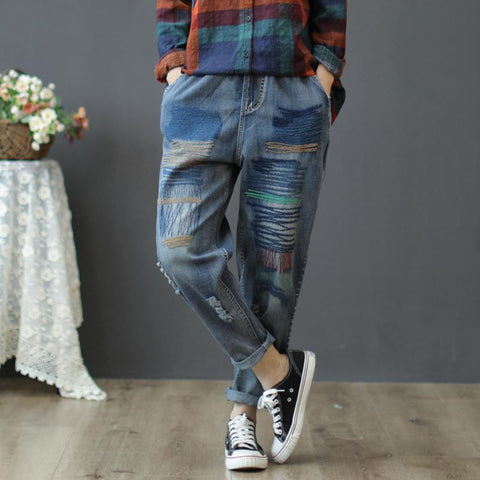 New Arts Style Jeans Vintage Ripped Ladies Jeans Elastic Waist