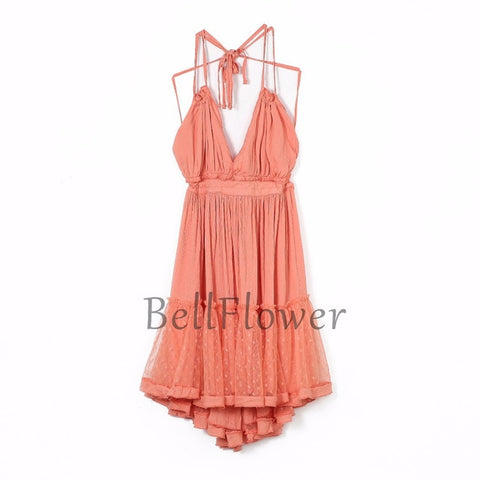 Strapless Lace Boho Backless Ball Gown Hippie Chic Mini Beach Dresses