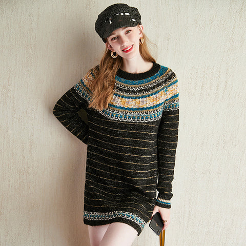 Runway Designer Lurex Striped Army Green Knitted Jumper Dress