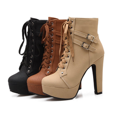 Ankle Boots Platform Lace Up High Heel Boots