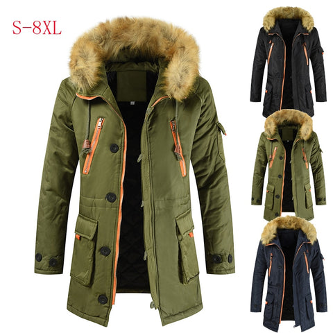Thicken Warm Casual Long Outwear Hooded Collar Jackets And Coats