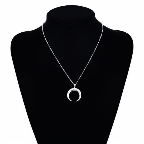 new multi-layer crystal moon pendant ladies retro charm necklace