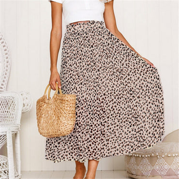 Pleated Long Maxi Leopard Printed Elastic Waist Skirt