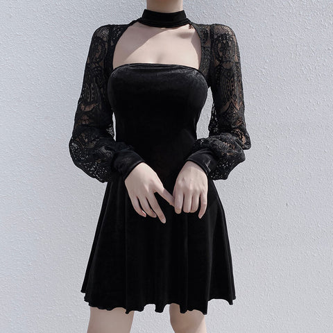 Sexy Hollow Out Black Gothic Streetwear Patchwork Party Nigh Vintage Dress