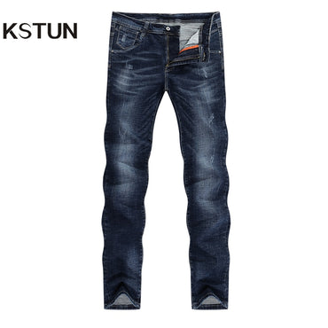 Dark Blue Stretch Slim Straight Business Casual Regular Fit Fashion Jeans