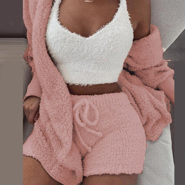 Hooded Tracksuit set Long Sleeve Cardigan Coat Outwear + Shorts Pants