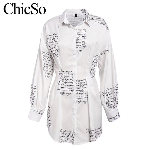Long sleeve letter print shirt elegant vintage lady short white dress