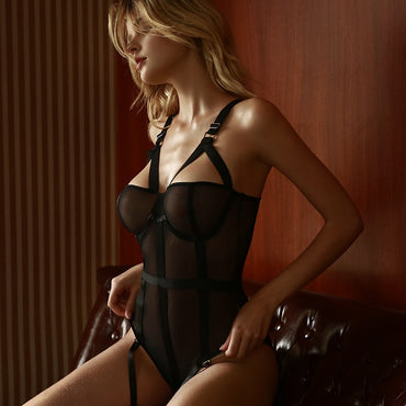 Sexy Lace Mesh Jumpsuit Suspenders Plastic Body Suit