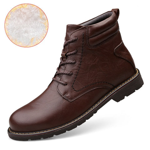 Warm Comfortable Fashion Genuine Leather Snow Winter Shoes Waterproof Boots