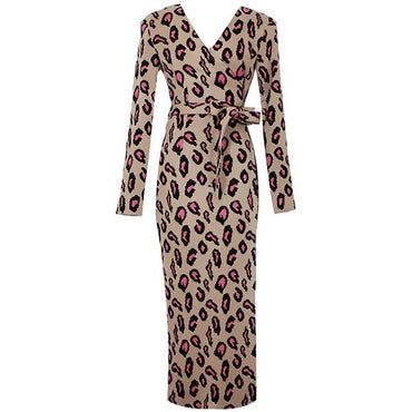 Leopard Print Knitted Fashion V Neck Sashes High Waist Midi Dress