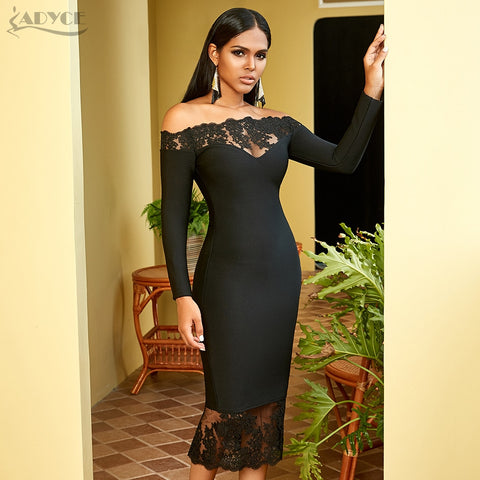 New Bandage Vestidos Black Slash Neck Celebrity Party Bodycon Dresses