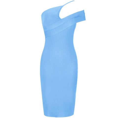 Blue Bodycon Bandage One Shoulder Elegant Sexy Party Dress