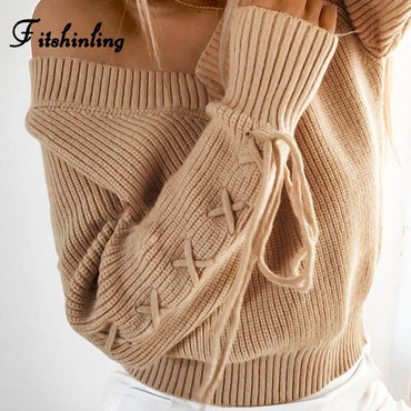Fitshinling Lace Up V Neck Sweater Pullover Knitwear Boho