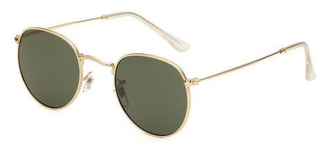 Classic Fashion Rose Gold Metal Frame Round  Mirror Lens Anti-reflected light