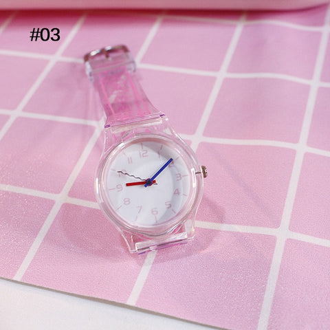Watches Silicone Cartoon Style Transparent Strap Watch