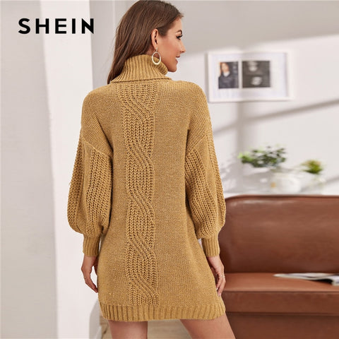 Camel Turtleneck Cable Knit Lantern Sleeve Sweater Dress