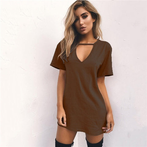V-neck Solid hollow Elegant Straigth Green Loose Mini Dresses