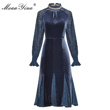 Beading Stand collar Lace Long sleeve Slim Velvet Dresses