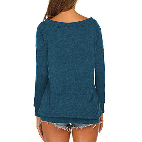 Sexy Blouse Shirt Long Sleeve Boat Neck Off Shoulder Top Shirt