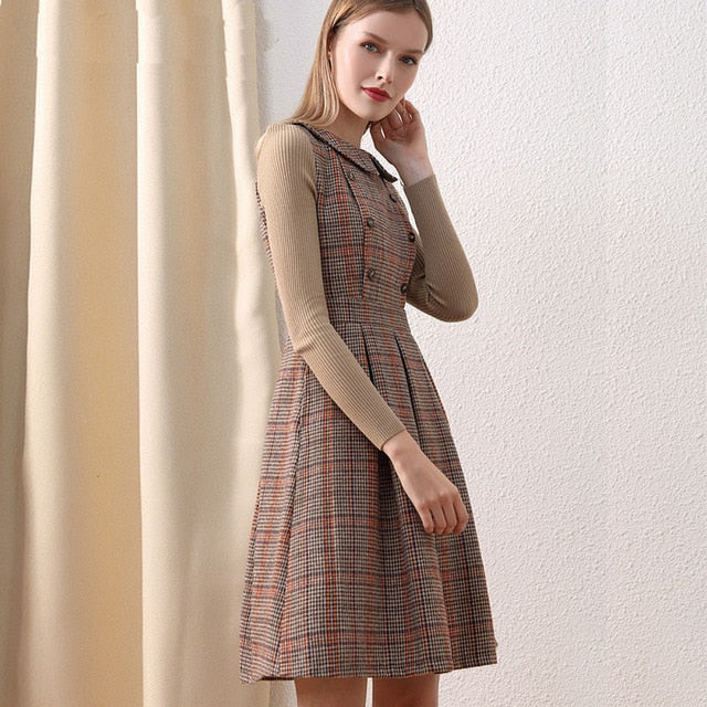 Vintage Wool Party Peter Pan Collar Pocket Slim Elegant Woolen Dresses