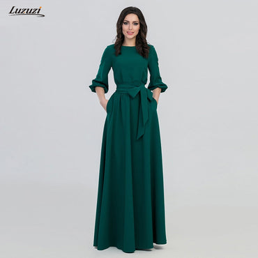 O-Neck long slim vintage three quarter lantern sleeve casual dress