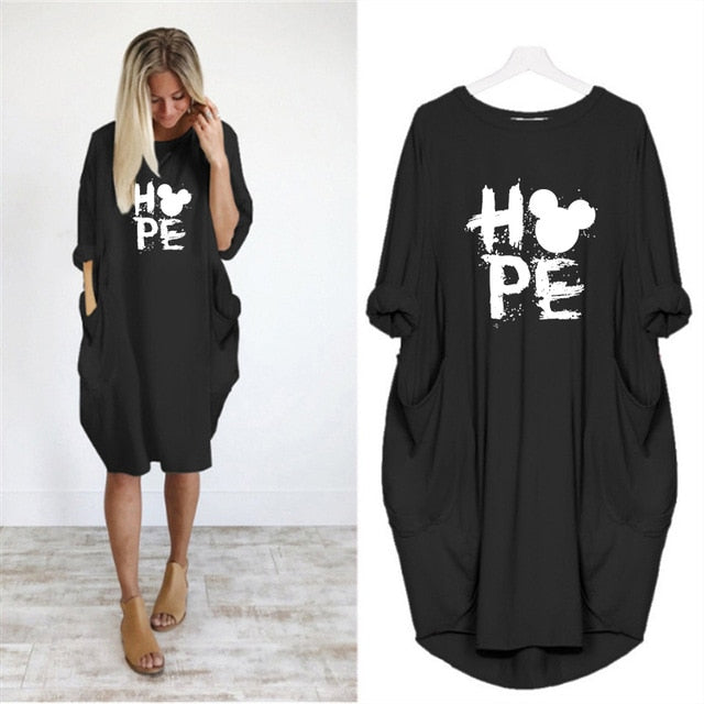 Printing Hope Pocket Loose Vintage Fall Maxi Party Casual Dresses