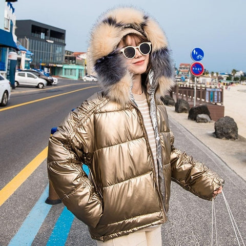 Parkas Coat New Glossy Warm Fur Hooded Short Cotton Jackets