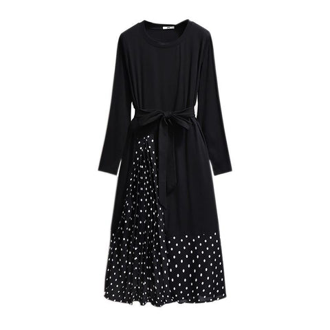 Casual Long Sleeve Black Patchwork Office Lady Dresses