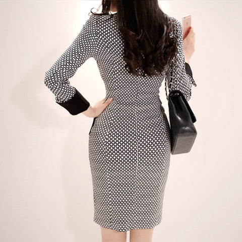 Double Button Print Office Blazer Contrast Retro Dress