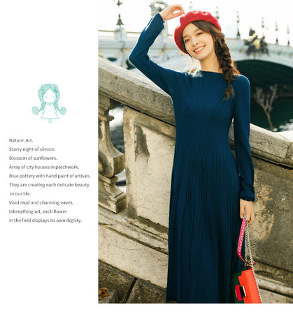New Arrival O-enck Retro Defined Waist Slim Long A-line Long Dress