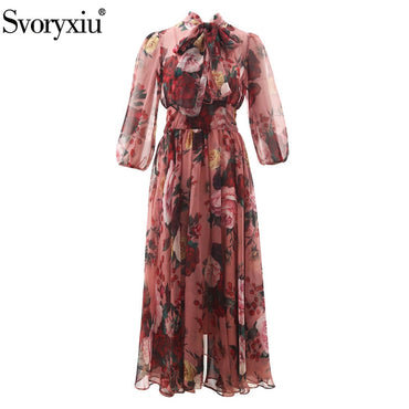 Party Chiffon Maxi Elegant Bow Collar Vintage Lace Flower Printed Long Dress