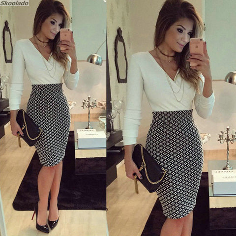 V neck Fit Work Vintage Elegant Business office Pencil Midi Dress