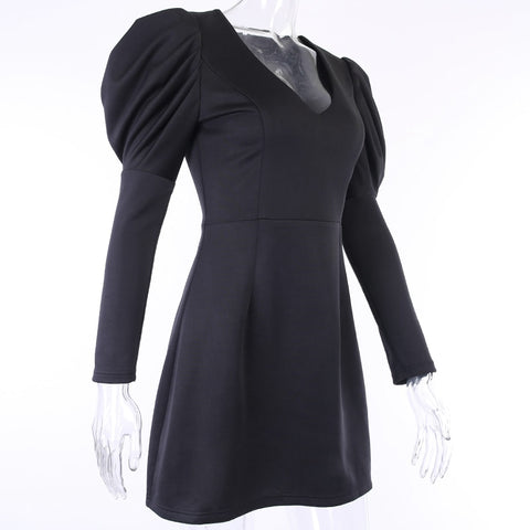 V-Neck A-line Party Black Slim Hight Waist Stretchy Long Sleeve Dresses