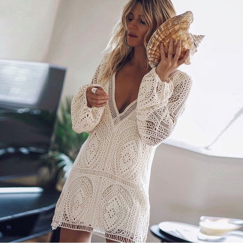 White Lace Beach Hollow Out Long Sleeve Sexy Dress