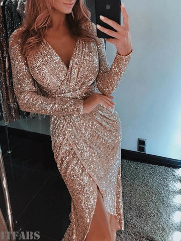 Glitter Sexy V neck Bodycon Slim Glitter Dress