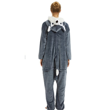 Adults Flannel Sleepwear Unisex Kigurumi Cute Unicorn Stitch Cartoon Animal Pajama