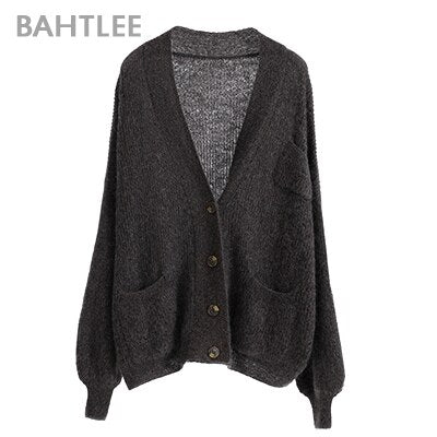 Mohair Sweater Gold Lurex Wool Knitted Jumper Cardigan Full Puff Sleeves V-Neck