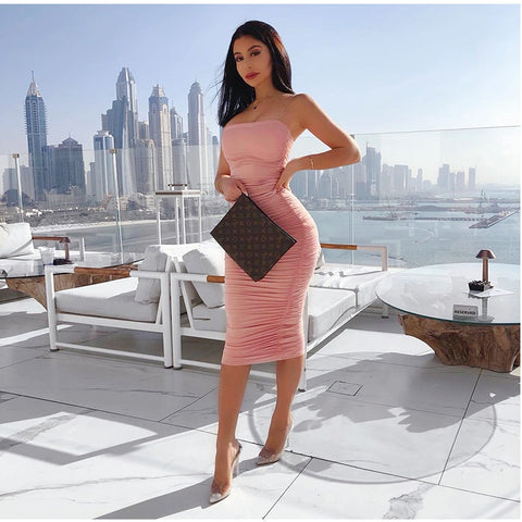 Elegant Ruched Maxi Dress Pink Party Long Sexy Dresses