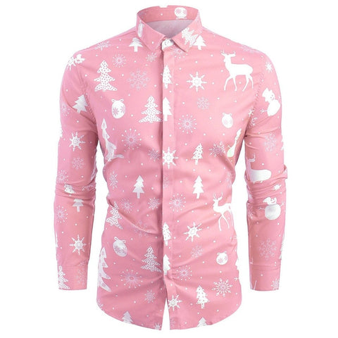 Printed Long Sleeve Button Clothes Casual Snowflakes Christmas Dress Shirts