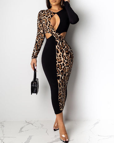 V-Neck Leopard Print Patchwork Cut Out Chest Long Dress