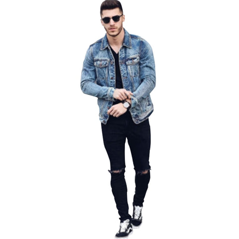 Sexy Hole Male Zipper Knee Ripped Skinny Vintage Denim Pencil Pants Jeans