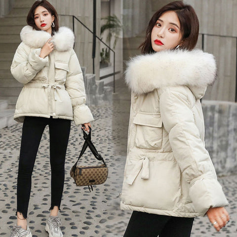 Fur Hooded Jackets Parkas Jacket Short Style Tie Up Warm Jackets