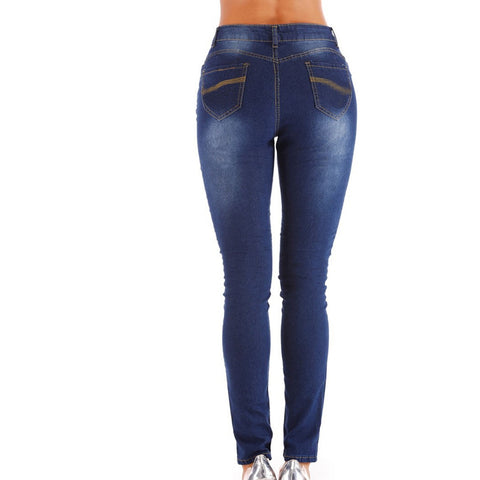 Jeans Fashion Solid Color Straight Slim Denim Trousers