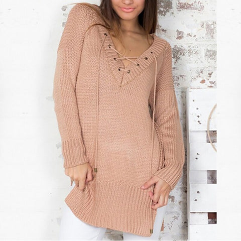 Knitted Sexy V Neck Hollow Out Boho Fringe Sweater Ladies Bohemian