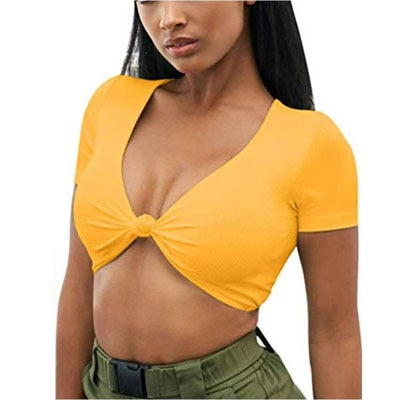 Knotted Tie Front Crop Tops Cropped Casual Blouse Tanks
